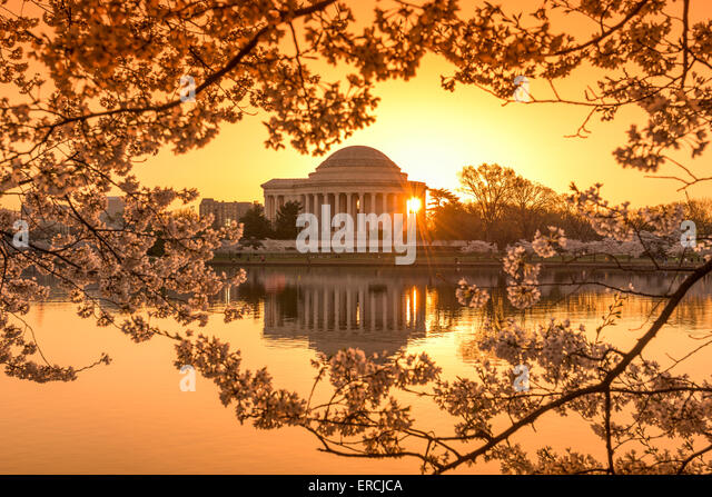 Washington, DC at the Tidal Basin and Jefferson Memorial during spring. - Stock Image