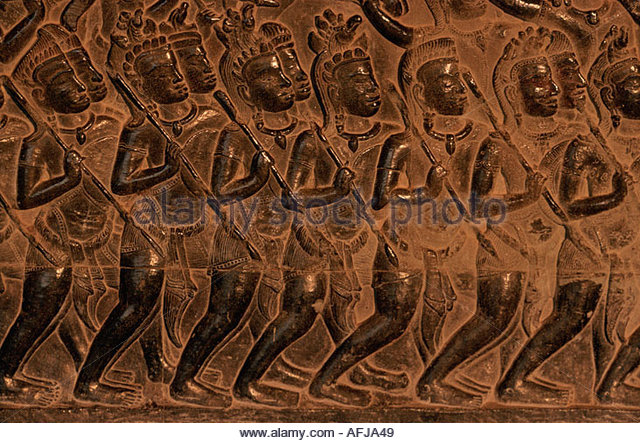 CAMBODIA Angkor Vat Hindu temple bas relief describing a scene from Mahabharata the Indian epic - Stock Image