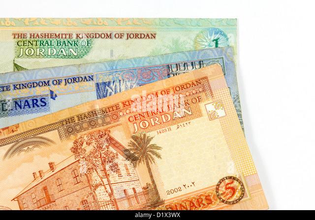 Jordan Dinars - close up of Jordanian notes cash travel money currency - Stock Image