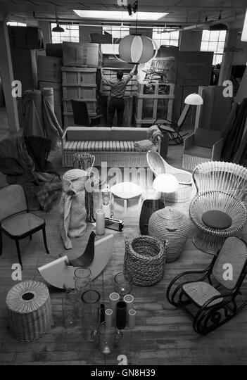 Benjamin C. Thompson's warehouse in Cambridge, showing a variety of items that were being sold in the Design Resign - Stock Image