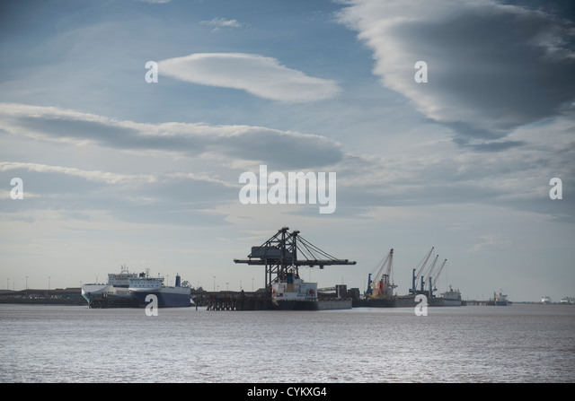 Cranes in industrial harbor - Stock Image