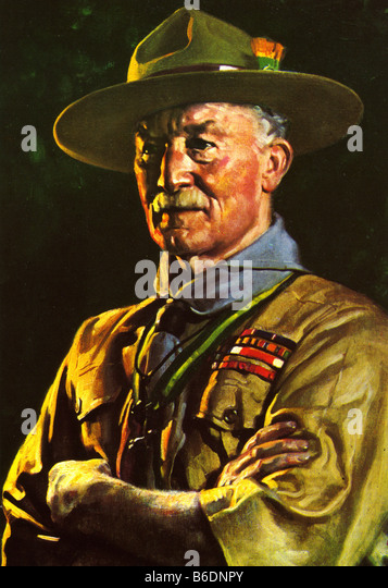 LORD BADEN POWELL OF GILWELL painted by David Jagger in 1929 - Stock Image