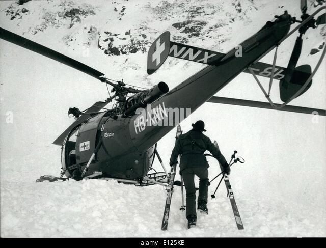 Mar. 03, 1988 - Klosters / Switzerland :Royal Ski Tragedy. A rescue helicopter stands near the place where prince - Stock Image