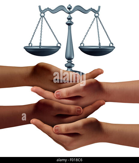 Community legal assistance concept with a group of hands representing diverse groups of people cooperating together - Stock Image