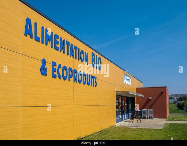 Frontage of BioCoop organic shop, Chatellerault, France. - Stock Image