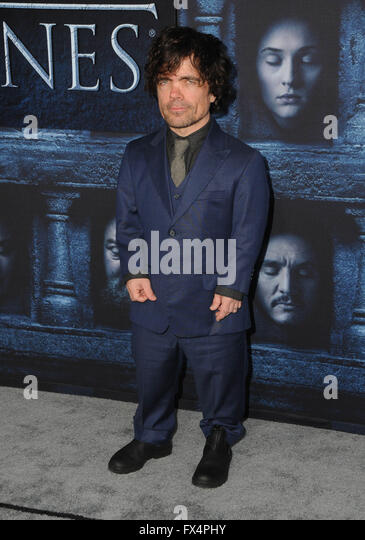 Hollywood, CA, USA. 10th Apr, 2016. Peter Dinklage. Arrivals for the Premiere Of HBO's ''Game Of Thrones'' - Stock Image