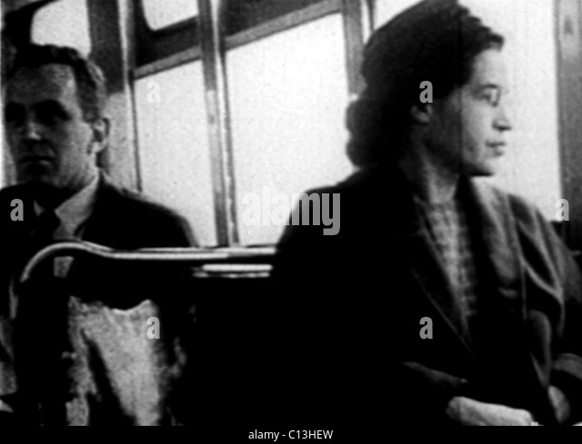 Rosa Parks, on the bus, 1955 - Stock-Bilder