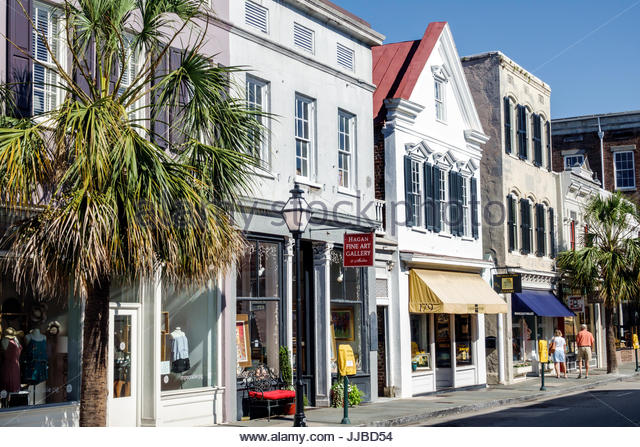 South Carolina Charleston SC Historic Downtown King Street stores shopping - Stock Image