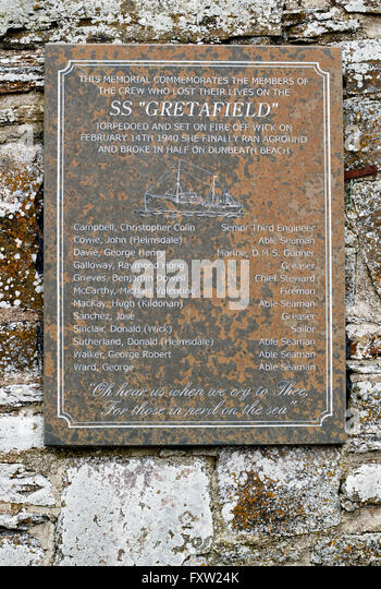 Memorial to SS Gretafield at Dunbeath - Stock-Bilder
