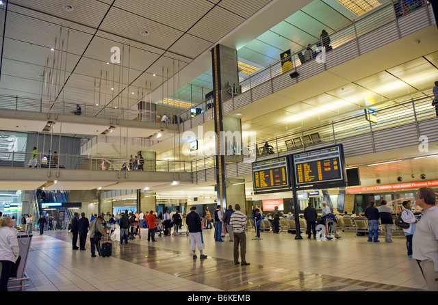 International Airport Jo-burg Johannesburg JNB south-Afrika south africa signboard desk sign board arrival departure - Stock Image