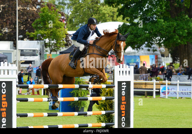 Show jumping at Royal Highland Show 2015, Ingliston, Edinburgh, Scotland, UK - Stock Image