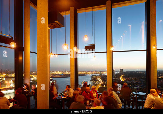 Bar, twentieth floor of the a Hotel, St. Pauli, Hamburg, Germany - Stock Image