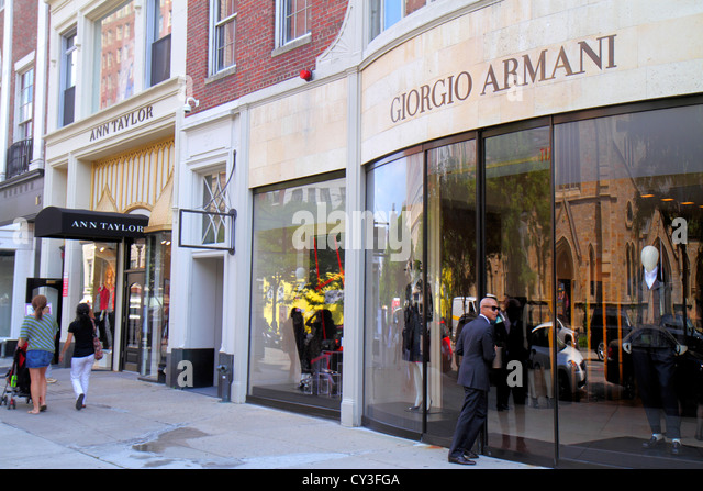 Boston Massachusetts Back Bay Newbury Street high-end luxury name-brand shopping Giorgio Armani Ann Taylor fashion - Stock Image