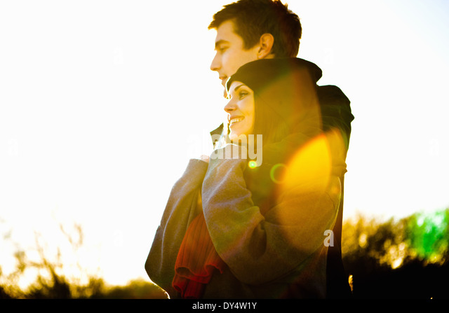 Romantic couple in sunlight - Stock-Bilder