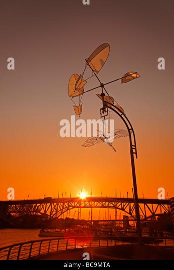 Sunset at False Creek Mobile Art Burrard Bridge Vancouver City Canada North America - Stock Image