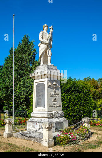 Village war memorial, Bossay-sur-Claise - France. - Stock Image