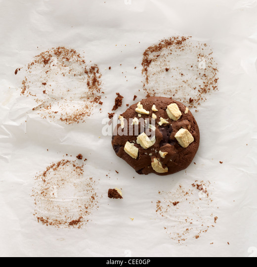 Chocolate cookie on baking paper - Stock Image