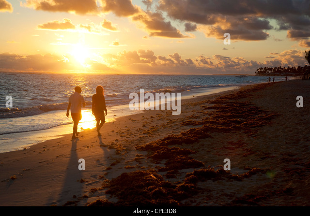 Bavaro Beach at sunrise, Punta Cana, Dominican Republic, West Indies, Caribbean, Central America - Stock Image