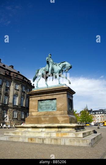 Equestrian statue of King Frederik VII (1808 1863),  Copenhagen, Denmark - Stock Image