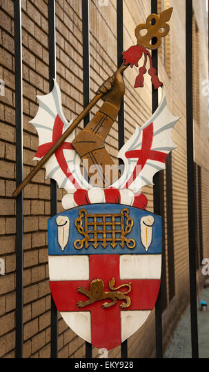 The Honourable Artillery Company coat of arms, Finsbury Barracks, City of London - Stock Image