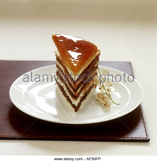 A piece of Dobostorte (layer cake) - Stock Image