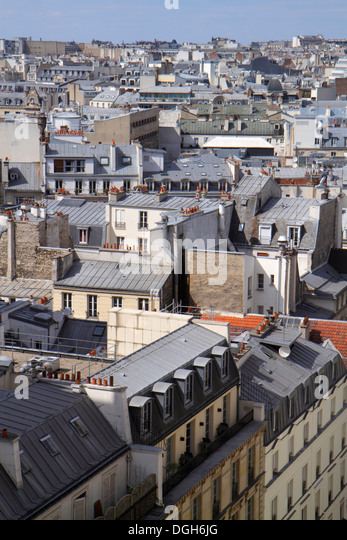 Paris France Europe French aerial rooftops city skyline Galeries Lafayette terrace observation viewing deck view - Stock Image