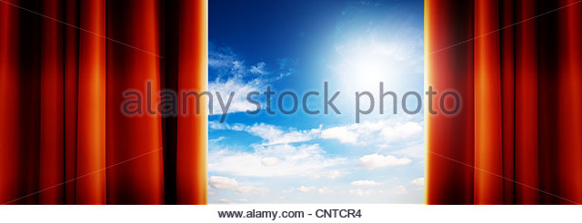 sunlight sky curtains - Stock Image