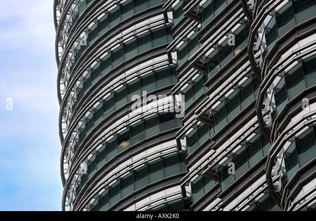 business working new city skyscraper building windowns office lines angles sky ground drive down modern distance - Stock Image