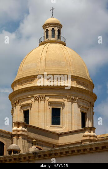 Dome of the 18th century Noto Cathedral in Noto, Sicily, Italy - Stock Image