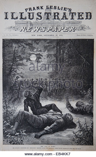 Cover of Frank Leslie's Illustrated Newspaper: 'The War of Races,' the conflict in Tennessee, 'Regulators' - Stock Image