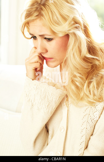 Anxious girl - Stock Image