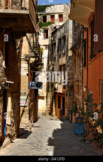 A typical narrow street in Chania old town, Crete - Stock Image