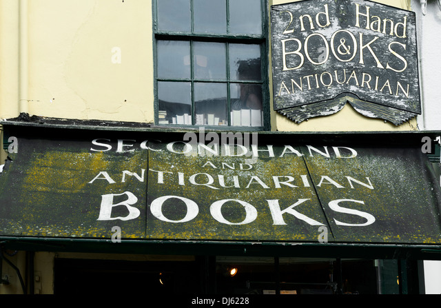 Dilapidated canopy of antiquarian and secondhand bookshop, Holt, Norfolk, England, United Kingdom, UK, Europe - Stock-Bilder