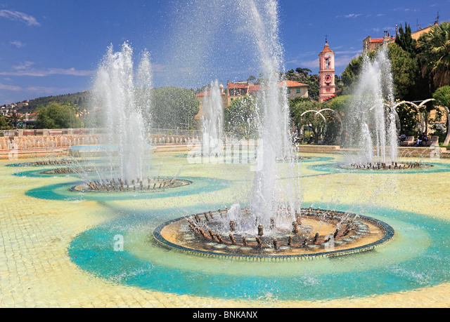 Fountains at Place Massena in downtown Nice on the French Riviera (Cote d'Azur) - Stock-Bilder