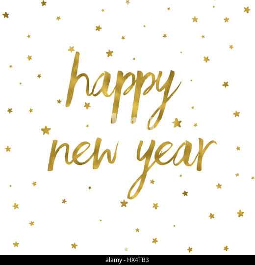 Happy New Year background with gold texture - Stock Image