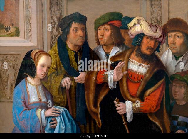 Potifar's Wife Displays Joseph's Garment, by Lucas van Leyden, circa 1512, Boijmans van Beuningen Museum, - Stock Image