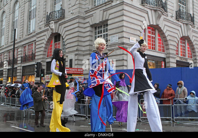 London,UK,1st January 2014,Walking tall at the London's New Year's Day Parade 2014 Credit: Keith Larby/Alamy - Stock Image