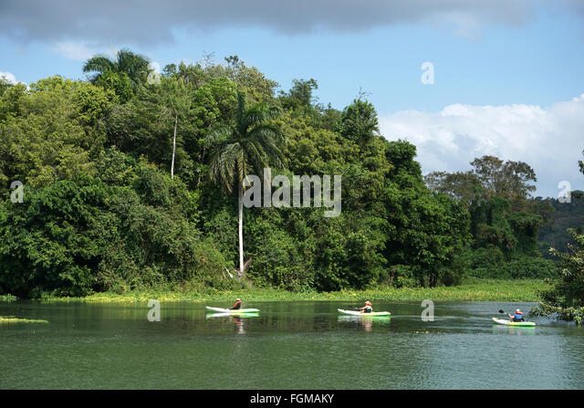 Canoeing at Chagres river Soberania National Parc Panama - Stock Image