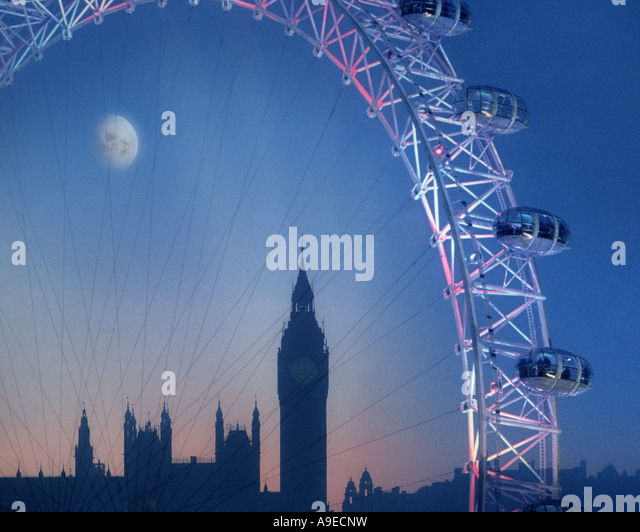 GB - LONDON:  The London Eye & Big Ben by night - Stock Image