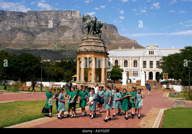 south africa cape town companys garden table mountain equestrian memorial statue school class south african museum - Stock Image