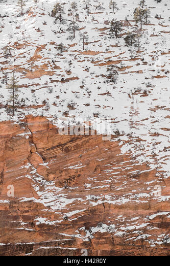 Snow covered red rock of Utah's Zion National Park - Stock Image