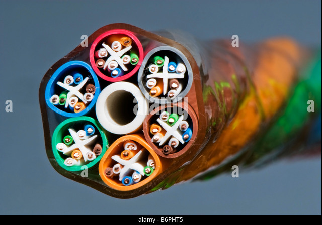 A category 5e Ethernet network cable bundle. - Stock Image