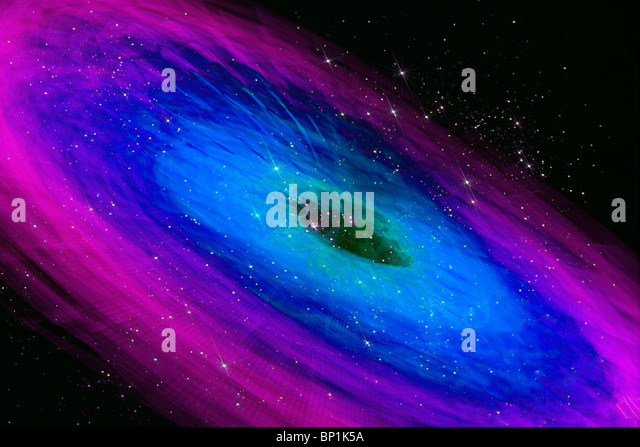 Abstract of spinning ride at an amusement park with stars added - Stock Image