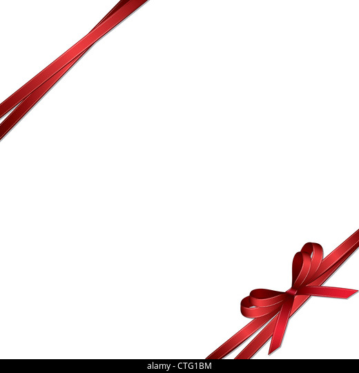 Red bow isolated on white background - Stock Image