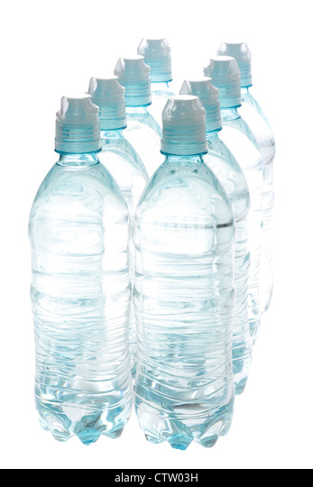 Bottled water isolated over a white background - Stock Image