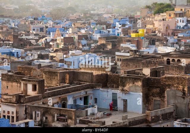 Rooftops, Bundi, Rajasthan, India - Stock-Bilder