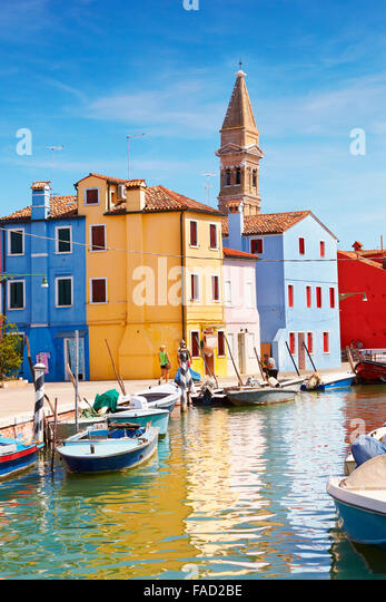 Burano Island near Venice, Italy - Stock Image