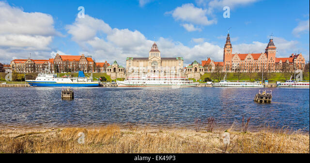 Panoramic view of Szczecin waterfront, Poland. - Stock Image