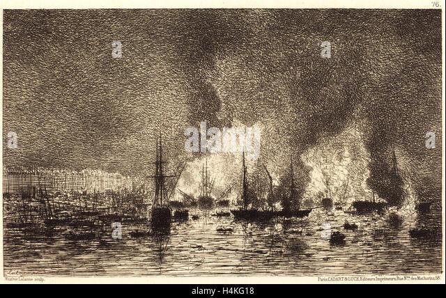 Maxime Lalanne, French (1827-1886), Incendie dans le port de Bordeaux, 1869, etching on laid paper - Stock-Bilder