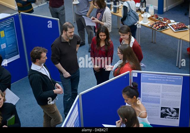Psychology students present research posters at University of Edinburgh, Scotland. - Stock Image